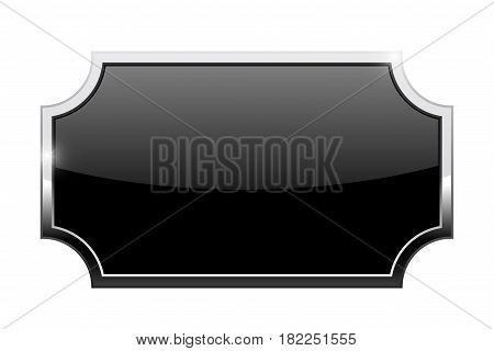 Black decorative button with chrome frame. Vector illustration isolated on white background
