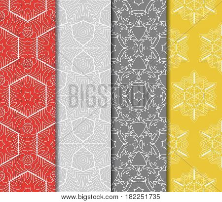 Set Of 4 Seamless Vector Patterns. Geometric Floral Pattern Of Lines And Shapes. Modern Design For B