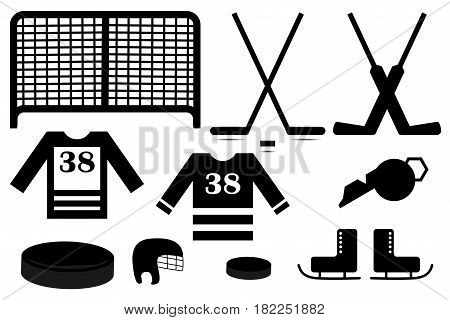 Vector ice hockey icon set , hockey