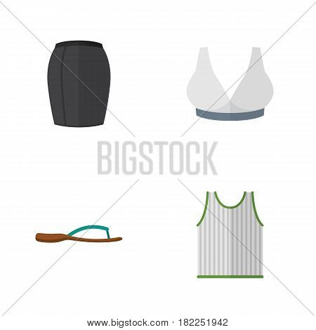 Flat Garment Set Of Stylish Apparel, Brasserie, Singlet And Other Vector Objects. Also Includes Skirt, Sport, Woman Elements.