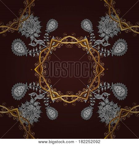 Vector golden textile print. Seamless pattern oriental ornament. Islamic design. Golden pattern on brown background with golden elements. Floral tiles.