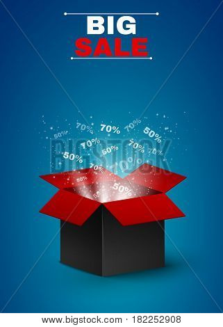 Magical box of red-black color. Beautiful glow from an open box. Magic dust. Big sale of the year. Discounts seventy and fifty percent. Realistic vector illustration. EPS 10
