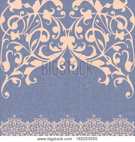 Damascus ornament, canvas background vector, beige abstract swirls, vintage style