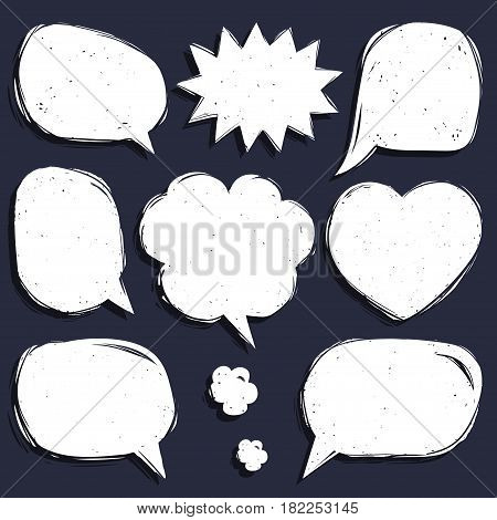 Vector set of comic speech bubbles in trendy flat style. Hand sketched blank dialog windows