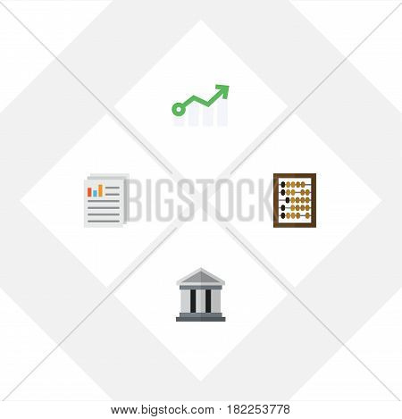 Flat Incoming Set Of Growth, Bank, Document And Other Vector Objects. Also Includes Arrow, Diagram, Document Elements.