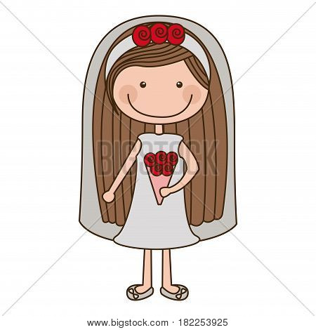 colorful caricature woman in wedding dress with long hair vector illustration
