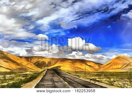 Colorful painting of road in the mountains, Friendship Highway, China