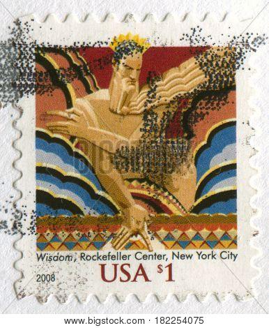 GOMEL, BELARUS, APRIL 18, 2017. Stamp printed in USA shows image of  The Wisdom, Rockefeller Center, New York City, circa 2008.