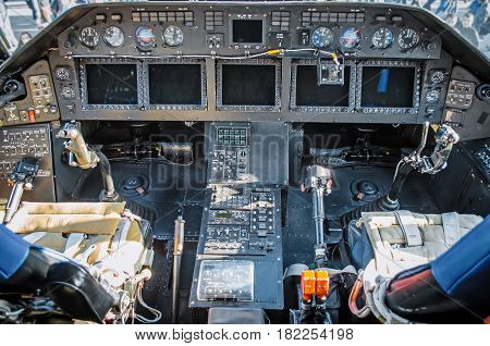Cabin Helicopter View Of The Panel Instruments And The Steering Wheel