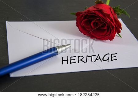 heritage  - written on a white envelope