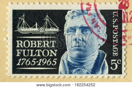 GOMEL, BELARUS, APRIL 18, 2017. Stamp printed in USA shows image of  The Robert Fulton (November 14, 1765 - February 24, 1815) was an American engineer and inventor, circa 2001.