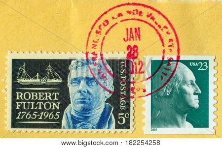 GOMEL, BELARUS, APRIL 18, 2017. Stamp printed in USA shows image of  The Robert Fulton and George Washington, circa 2001.