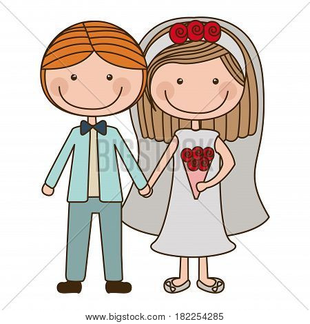 colorful caricature couple in wedding suit with short hair vector illustration