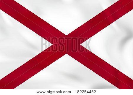 Alabama Waving Flag. Alabama State Flag Background Texture.