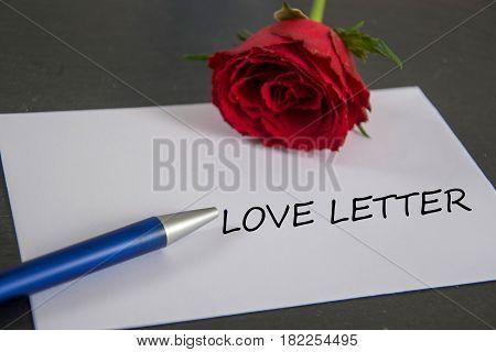 Love Letter - german for love letter -  written on an envelope