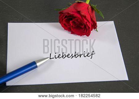 Liebesbrief - german for love letter -  written on an envelope