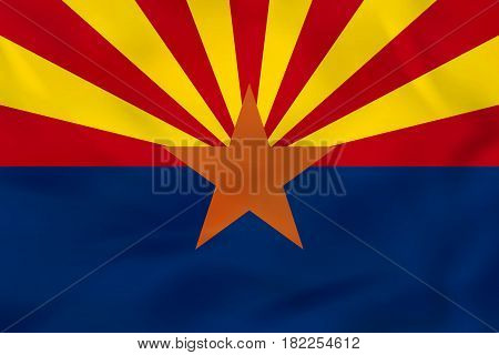 Arizona Waving Flag. Arizona State Flag Background Texture.
