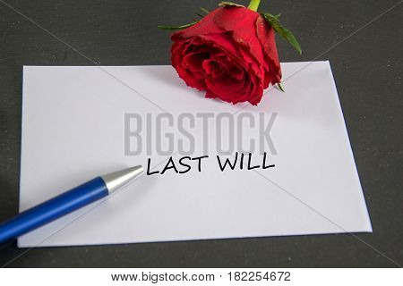 last will - written on a white envelope