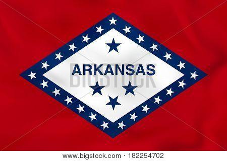 Arkansas Waving Flag. Arkansas State Flag Background Texture.