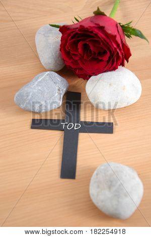 Tod - german for death - written on a black cross