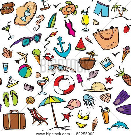 Summer color doodle set. Summer beach holidays, travel, shoes, ice cream, shells, ball, drink, towel, sun glasses, parasol. Hand drawn doodle. Vector illustration isolated on white background