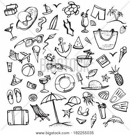 Summer doodle set. Summer beach holidays, travel, shoes, ice cream, shells, ball, drink, towel, parasol. Hand drawn doodle. Vector illustration isolated on white background