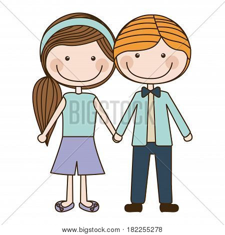 colorful caricature blond male hair and female side hairstyle with taken hands vector illustration