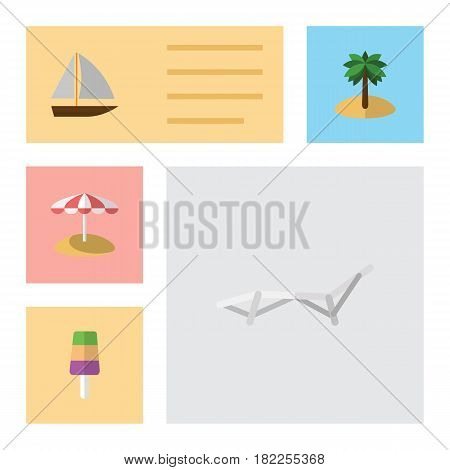 Flat Beach Set Of Yacht, Sundae, Coconut And Other Vector Objects. Also Includes Yacht, Cream, Sunbed Elements.