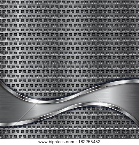 Metal perforated background with brushed stainless steel wave. Vector 3d illustration