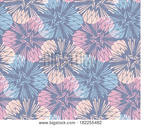 Dandelion burlap seamless pattern background vector, colorful linen blowball wallpaper