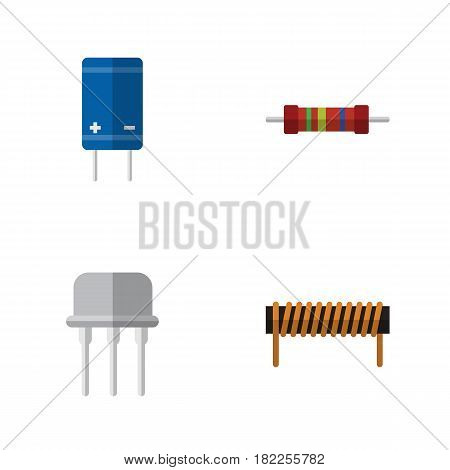 Flat Electronics Set Of Transistor, Bobbin, Resist And Other Vector Objects. Also Includes Resist, Copper, Transistor Elements.