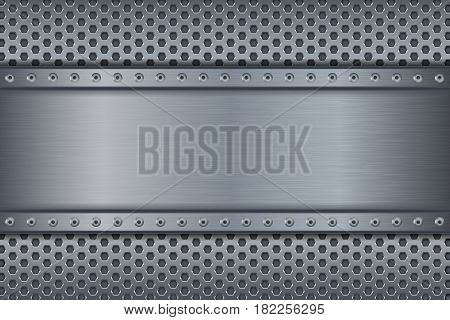 Metal background with perforation. Steel plate. Vector illustration