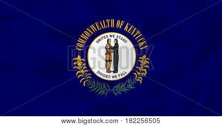 Kentucky Waving Flag. Kentucky State Flag Background Texture.