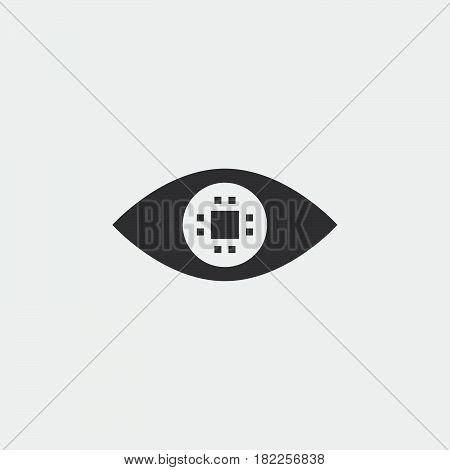cyber eye solid icon ocular chip vector illustration pictogram isolated on white