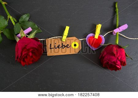 Liebe -  german for love - written on a paper tag
