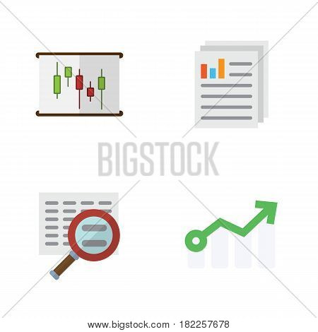 Flat Gain Set Of Document, Scan, Growth And Other Vector Objects. Also Includes Scan, Report, Document Elements.