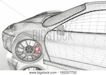 Car vehicle 3d blueprint mesh model with a red brake caliper on a white background. 3d rendered image