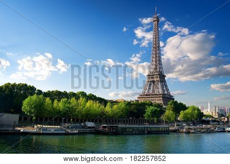 View on Seine and Eiffel Tower in Paris, France