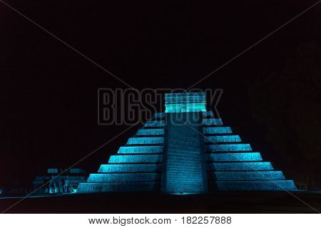 Pyramid Of Chichen Itza At Night