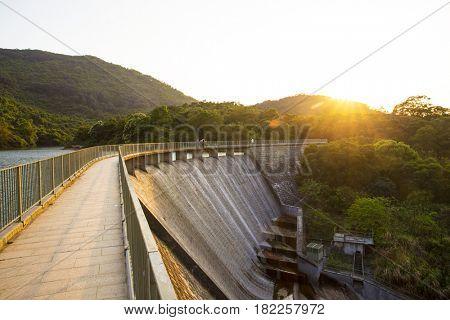 Ho Pui Reservoir - Yuen Long hong kong , water dam sunset