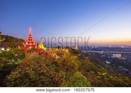 Golden Pagoda on Mandalay Hill sunset , Mandalay, Myanmar