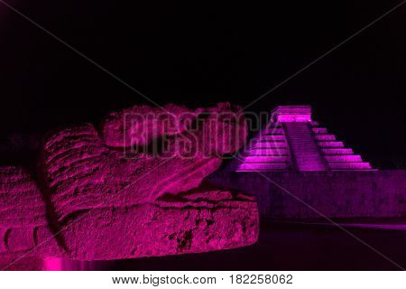 Chichen Itza At Night
