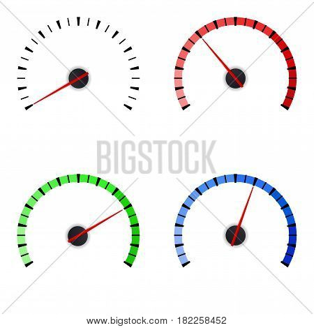 Gauge. Set of colored universal measuring scales. Vector illustration isolated on white background