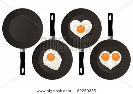 Fried eggs on black frying pan. Vector illustration isolated on white background