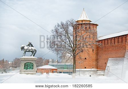 attraction in city Kolomna Kremlin with Marinkina tower and the monument to Dmitry Donskoy the historical centre of the old town in winter horizontal view