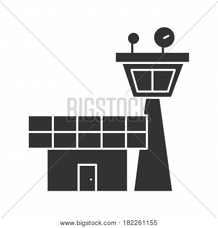 Flight control tower icon. Silhouette symbol. Negative space. Vector isolated illustration