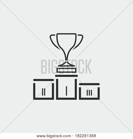 winners podium icon isolated on grey background .