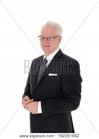 A closeup image of a white hair senior man in a suit and glasses in profile isolated for white background.