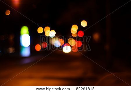 Blurred Background Of The Car Lights