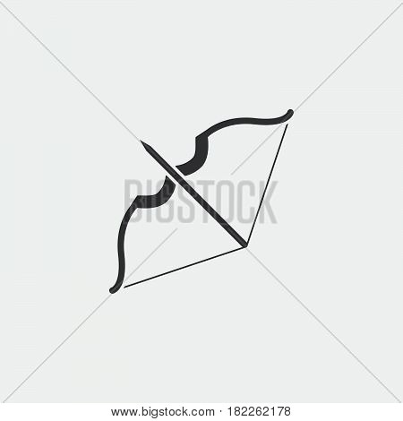 Bow and arrow icon isolated on grey background .